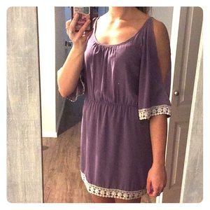 Lavender dress with lace detail & shoulder cut out